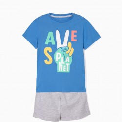 SAVE OUR PLANET T-SHIRT AND SHORTS FOR BOYS, BLUE AND GRAY