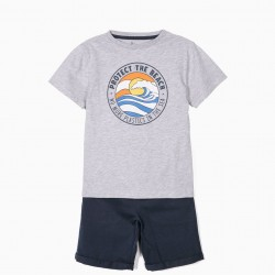 'PROTECT THE BEACH' BOY'S T-SHIRT AND SHORTS, GRAY AND BLUE
