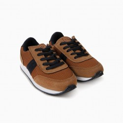 'ZY EASY' BOY SHOES, CAMEL AND BLUE