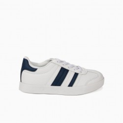 'ZY RETRO' CHILDRENS SHOES WITH STRIPES, WHITE AND BLUE