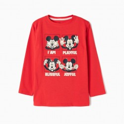 MICKEY MOUSE LONG SLEEVE T-SHIRT, RED