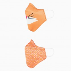 PACK OF 2 KIDS MASK, CERTIFIED (LEVEL 3), FOX