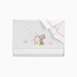 BED SHEETS 120X60 CM MINNIE DISNEY WHITE / PINK 3 PIECES