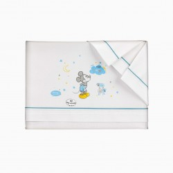 BED SHEETS 120X60 CM MICKEY DISNEY WHITE / BLUE 3 PIECES