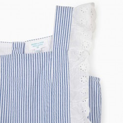 STRIPED DRESS FOR GIRLS 'BROTHERS & SISTERS', BLUE / WHITE