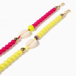 2 BEADS BRACELETS FOR GIRLS 'SEASHELLS', PINK / NEON YELLOW