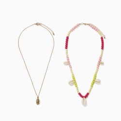 2 'SEA ELEMENTS' NECKLACES FOR GIRLS, GOLD / MULTICOLOR