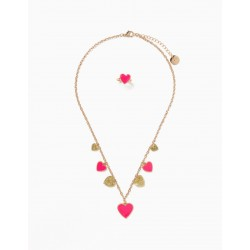 NECKLACE + RING FOR GIRL 'SHINY HEARTS', GOLD