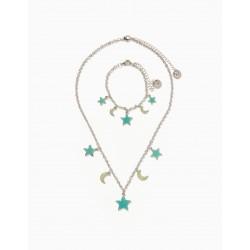 NECKLACE + BRACELET FOR GIRLS 'STARS & MOONS', SILVER