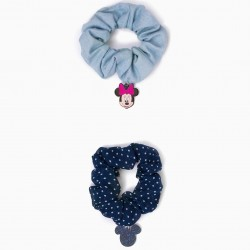 2 SCRUNCHIE RUBBER BANDS FOR GIRL 'MINNIE', BLUE
