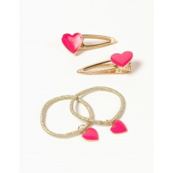 6 'SHINY HEARTS' HAIR CLIPS FOR GIRLS, GOLD