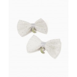 2 TULLE HAIRPINS FOR GIRL 'MOON', WHITE