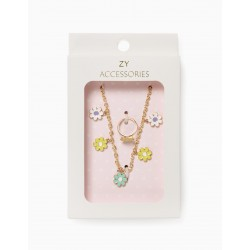 NECKLACE + RING FOR GIRL 'FLOWERS', GOLD