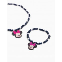 BEADED NECKLACE AND BRACELET FOR GIRL 'MINNIE', DARK BLUE