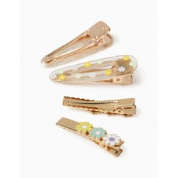 2 BARRETTES + 2 HAIRPINS FOR GIRL 'FLOWERS', GOLD