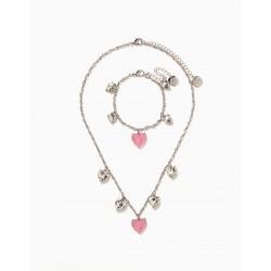 NECKLACE + BRACELET FOR GIRL 'HEARTS', SILVER