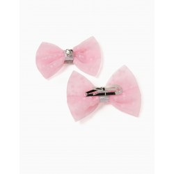 2 TULLE HOOKS FOR GIRLS 'HEARTS', PINK