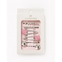 4 BARRETTES + 2 HAIRPINS FOR GIRL 'HEARTS', SILVER