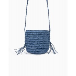 RAFFIA CROSSBODY BAG FOR GIRL, BLUE