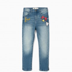 BLUE EMBROIDERED JEANS FOR GIRLS