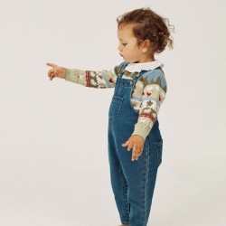 BABY GIRL BIB 'COMFORT DENIM' BLUE