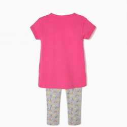 BUGS BUNNY T-SHIRT AND LEGGINGS FOR GIRLS, PINK AND GRAY