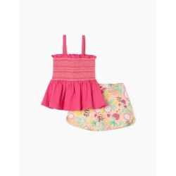 TOP & SHORTS FOR GIRLS, 'FRUITS', PINK/SALMON