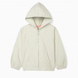 GIRL'S HOODED JACKET, GREEN/PINK