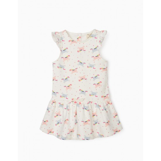 BABY GIRL DRESS 'UNICORNS', WHITE