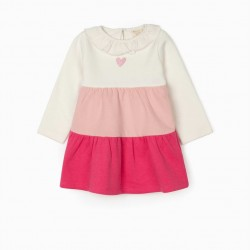BABY GIRL DRESS, WHITE/PINK