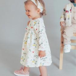 BABY GIRL DRESS + HAIR RIBBON, BEIGE
