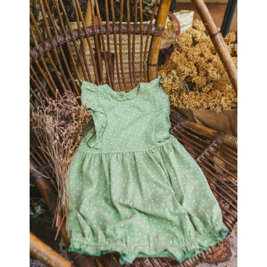 BABY GIRL JUMPSUIT 'DOTS', GREEN