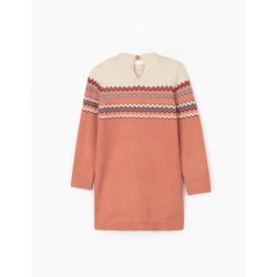 JACQUARD DRESS FOR GIRL, PINK / BEIGE