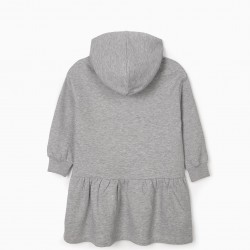 'BE UNIQUE' GIRL HOODED DRESS, GRAY