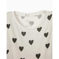 JERSEY GIRL DRESS 'HEARTS', WHITE