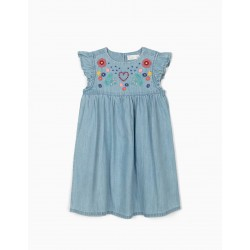DENIM DRESS WITH EMBROIDERY FOR GIRLS, BLUE