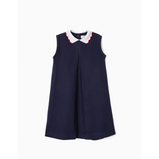 GIRL'S PIQUÉ KNIT DRESS, DARK BLUE