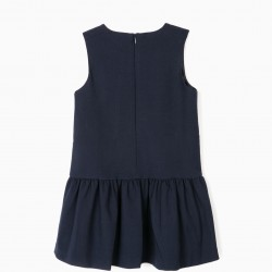 BOW DRESS FOR GIRLS, DARK BLUE