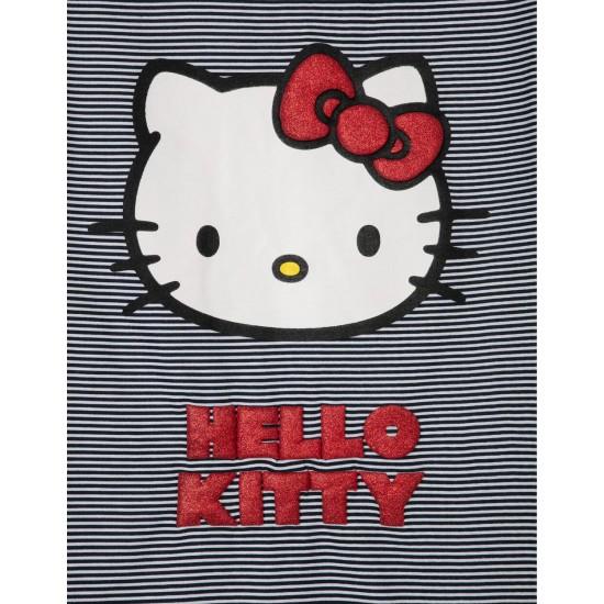 GIRL'S STRIPED DRESS 'HELLO KITTY', BLACK / WHITE