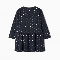 'STARS' JERSEY GIRL DRESS, DARK BLUE