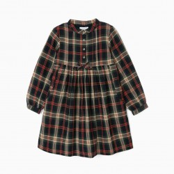 CHECKERED GIRL DRESS 'B&S', GREEN / BLUE