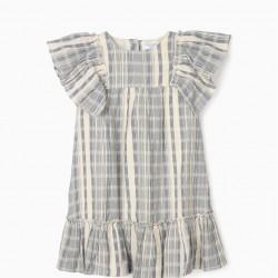 B&S STRIPED DRESS FOR GIRLS, BLUE / WHITE