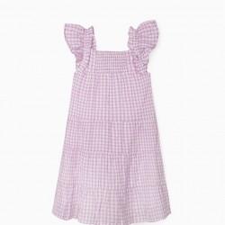 'VICHY' PLAID GIRL DRESS, LILAC/WHITE