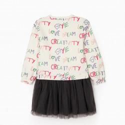 'LOVE' MATCH GIRL DRESS, WHITE/GREY