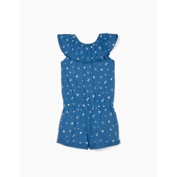 JUMPSUIT WITH RUFFLE FOR GIRLS, 'HEARTS & STARS', BLUE