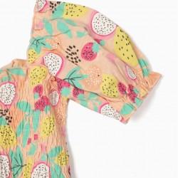 DRESS FOR GIRLS, 'FRUITS', SALMON