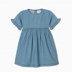 DENIM DRESS FOR GIRL, LIGHT BLUE