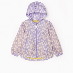 'FLOWERS' GIRL HOODED PARKA, LILAC
