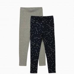 2 LEGGINGS FOR GIRLS 'STARS', GRAY / DARK BLUE