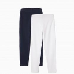 2 BASIC LEGGINGS FOR GIRLS, WHITE / DARK BLUE